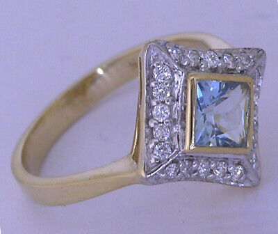 AU691.06 • Buy R081 Genuine 9ct Gold Natural Aquamarine & Diamond Engagement Ring In Yr Size