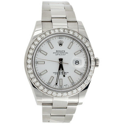 $ CDN13727.34 • Buy Mens 41mm 116300 Rolex DateJust II Real Diamond Watch White Stick Dial 2.75 CT.
