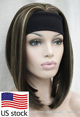 $19.43 • Buy Fashion Medium Brown Mix 3/4 Full Half Headband Wig Straight Women (US Stock)