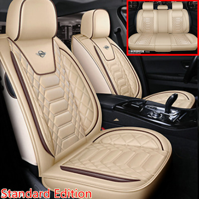 $ CDN163.47 • Buy Standard Edition 5-Seats Car Breathable PU Leather Seat Covers Cushion Beige