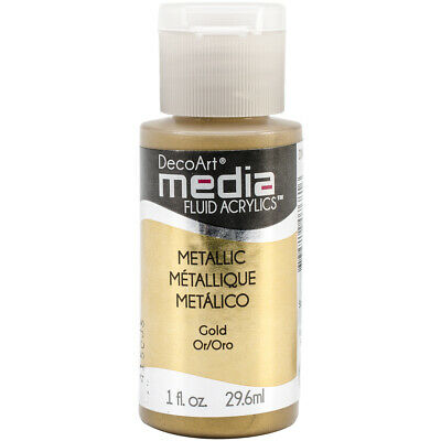 Deco Art Media Fluid Acrylic Paint 1oz-Gold (Series 2), DMFA-49 • 10.09£