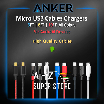 AU37.40 • Buy Anker Micro USB Android Cable Charger 3FT 6FT 10FT HTC Lot Fast Charge All Color