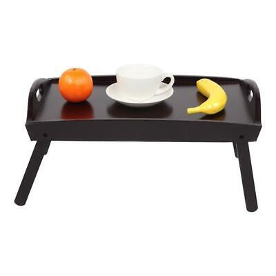 $15.68 • Buy Wooden Foldable Breakfast In Bed Serving Tray Folding Legs Food Table Brown