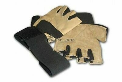 £10.99 • Buy Gold Gym Gloves - Large LEATHER Weightlifting Weight Lifting Wrist Bodybuilding