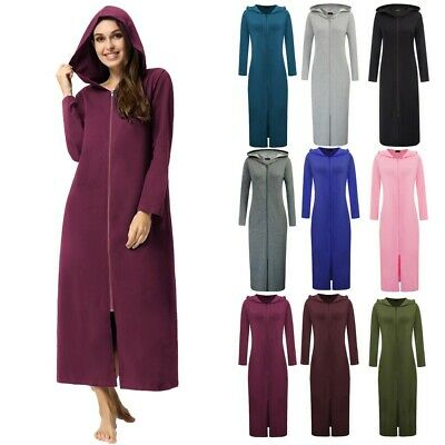 Womens Autumn Long Sleeve Hooded Sweatshirt Zip-front Long Dressing Gown Coat • 18.95£