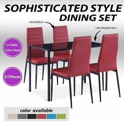 AU242.99 • Buy VidaXL 5/7 Pieces Dining Set Tempered Glass Kitchen Dinner Table Multi Colours