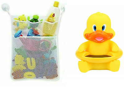 Baby Bath Toy Storage Organiser Mesh Net + Duck Bath Water Thermometer  • 6.99£