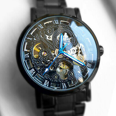 $ CDN30.96 • Buy Black Mens Skeleton Stainless Steel Antique Steampunk Automatic Mechanical Watch