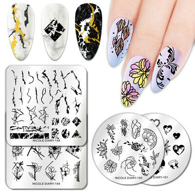 $0.99 • Buy NICOLE DIARY Nail Stamping Plates Leaf Marble Series Nail Art Decoration Tool
