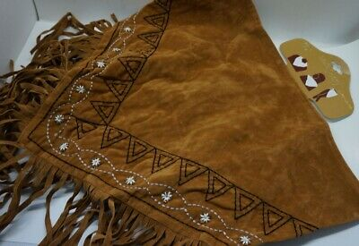$7.99 • Buy Western Fringe Cowgirl Multi SCARF Triangle BROWN Faux Suede Embroider AC17-2/22