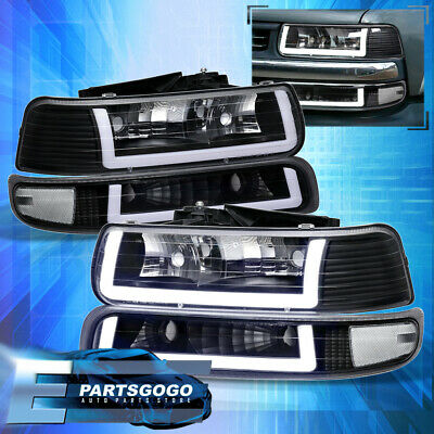 $216.99 • Buy For 99-02 Silverado Tahoe LED DRL Black Housing Clear Lens Headlights Assembly