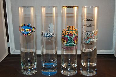 $12.50 • Buy Vintage Souvenir TALL GLASS Rollercoaster Set Of 4 BEAST KRAKEN NITRO KENNYWOOD