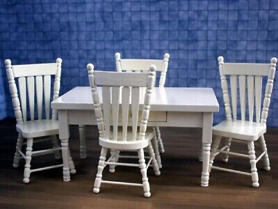 Dolls House Miniature 1/12th Scale Cream Wood Table With Drawer & 4 Chairs ZS48  • 18.99£