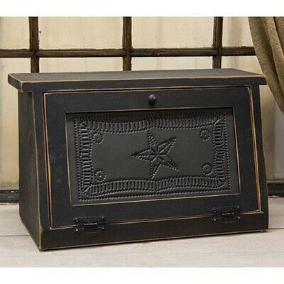 $80.95 • Buy NEW! Primitive Farmhouse Punched Tin Star Black Wood Bread Box