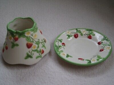 YANKEE CANDLE Strawberry Fields Large Ceramic Candle Shade And Plate Set RARE • 29.99£
