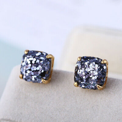 $ CDN21.03 • Buy Kate Spade Small Square Stud Black Colored Glitter Earrings W/ Gift Box