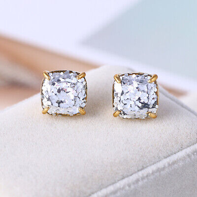 $ CDN19.80 • Buy Kate Spade Small Square Stud Gold With Silver Glitter Earrings W/ Gift Box