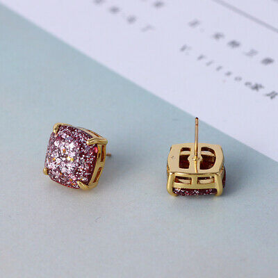 $ CDN20.40 • Buy Kate Spade Small Square Stud Purple Glitter Earrings W/ Gift Box