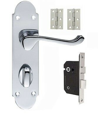 £12.49 • Buy Shaped Bathroom Door Handle In Polished Chrome Lock And Hinges Included