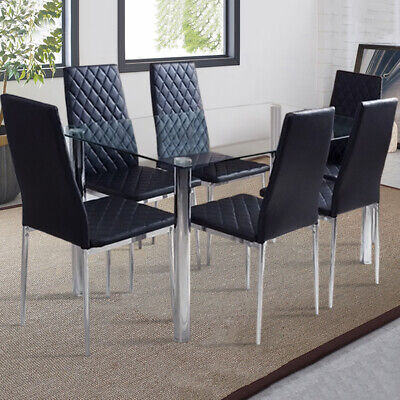 £85.95 • Buy Dining Rectangle Table And 6 PVC Chairs Set Kitchen Dinning Room Black Furniture