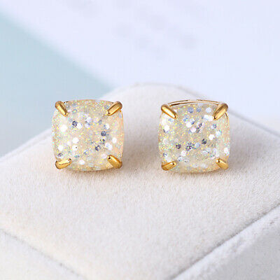$ CDN19.89 • Buy Kate Spade Small Square Stud Gold With White Glitter Earrings  W/ Gift Box