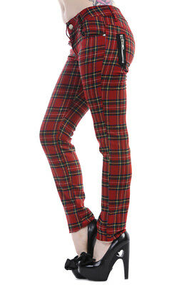 Red Tartan Check Skinny Punk Emo Gothic Rockabilly Trousers Jeans BANNED Apparel • 24.99£