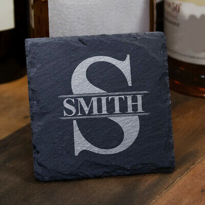 Personalised Natrual Slate Coaster Engraved Cup Mat Custom Gift Home Decoration • 4.99£