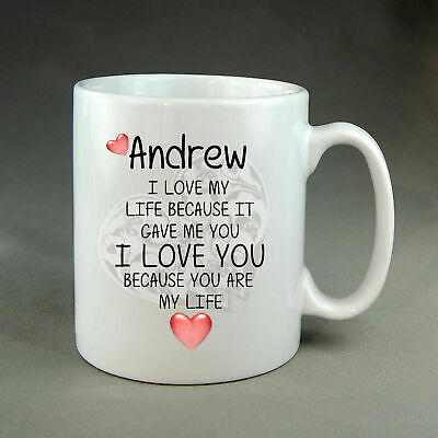 Beautiful Personalised I Love You MUG Present Husband Wife Boyfriend Girlfriend • 8.99£