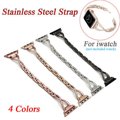 $ CDN9.33 • Buy Stainless Steel Strap Diamond Watchband Watch Band For Iwatch Series 4 3 2 1