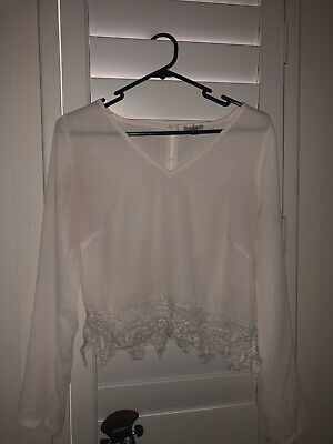 AU10 • Buy Urban Outfitters Sheer Long Sleeved Top Frill Hem (s)