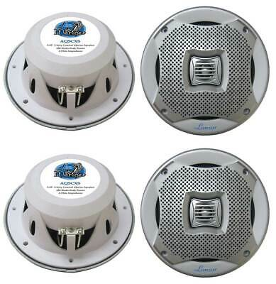 $80.99 • Buy 4) NEW LANZAR AQ5CXS 5.25  800W 2-Way Marine/Boat Audio Stereo Speakers Silver