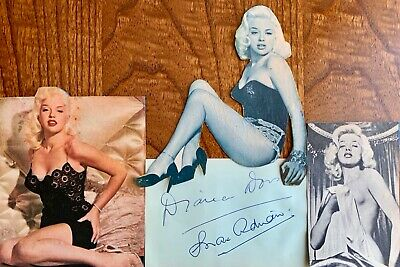 Diana Dors ,max Adrian & Dickie Henderson Autographs & Vintage Dors Cut Outs • 55£
