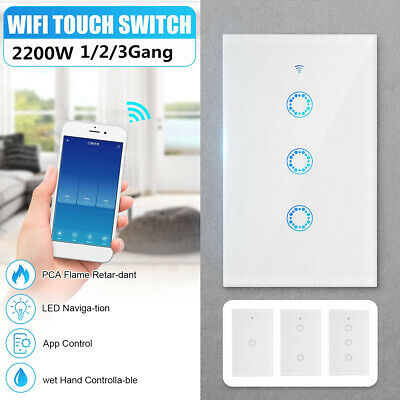 AU20.58 • Buy 1/2/3Gang Wifi Smart Home LED Touch Light Wall Switch Panel For Alexa Google APP