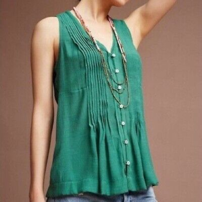 $ CDN46.44 • Buy Anthropologie Maeve Size XL Green Button Down Sleeveless Pleated Top Blouse