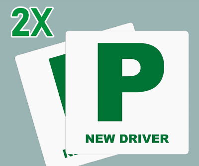 2 X New Driver P Plate Stickers Safety Car Learner Just Passed Vinyl Legal Signs • 3.09£