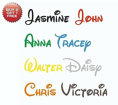 Personalised Sticker Name Word Label Water Drink Bottle Disney Font Decal • 1.69£