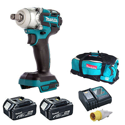 MAKITA DTW285 IMPACT WRENCH 2 BL1840 BATTERIES DC18RC 110v CHARGER DK18027 BAG • 327.98£