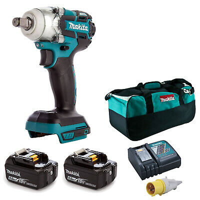 MAKITA 18V LXT DTW285 IMPACT WRENCH 2 BL1850 BATTERIES DC18RC 110v CHARGER BAG • 353.01£