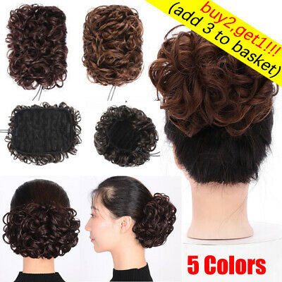 Wave Curly Hair Bun Synthetic Hair Easy Clip In Chignon Hair Ponytail Extensions • 4.69£