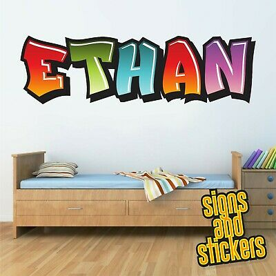 Childrens Name Wall Stickers Personalised Graffiti For Boys Girls Bedroom Art • 17.50£