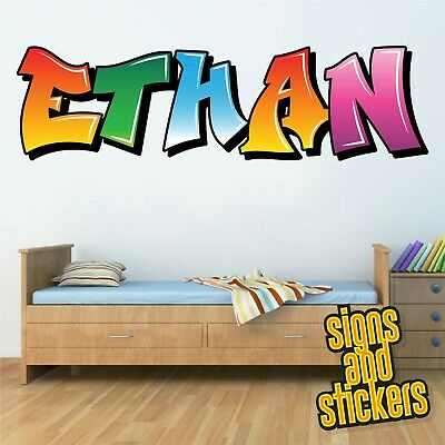 Childrens Name Wall Stickers Personalised Graffiti For Boys Girls Bedroom Art .. • 10£