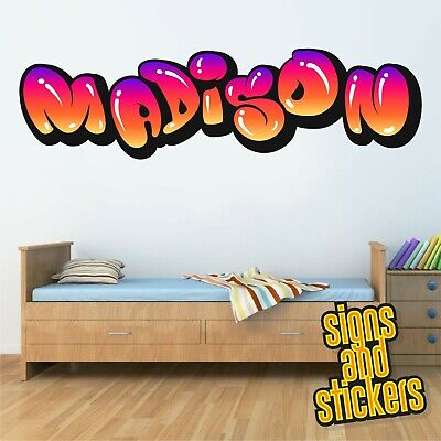 Childrens Name Wall Stickers Personalised Graffiti For Boys Girls Bedroom Art  . • 17.50£