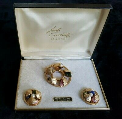 $12.99 • Buy Sarah Coventry Brooch And Clip-on Earrings Set Gold Tone Pearls Stones