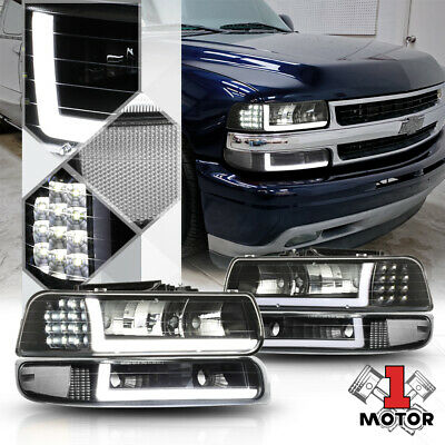 $210.98 • Buy Black/Clear *LED SIGNAL+BAR DRL* Headlight+Bumper For 99-06 Silverado/Suburban