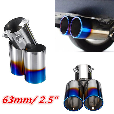 $ CDN26.15 • Buy 63MM Car Stainless Steel Roasted Blue Bent Throat Dual Exhaust Pipe Silencer