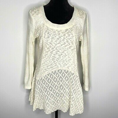 $ CDN30.67 • Buy Anthropologie Meadow Rue Size Medium Shirt Linay Skirted Pullover In Ivory Knit