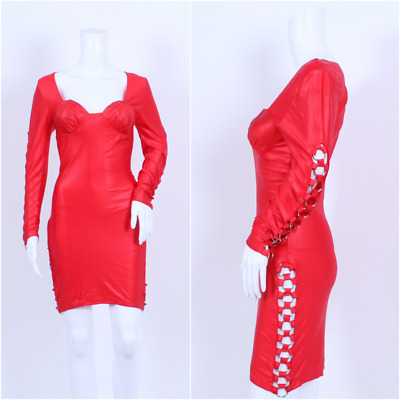 AU71.78 • Buy Vintage 1980s Red Spandex Ring Details Statement Party Dress 8 10
