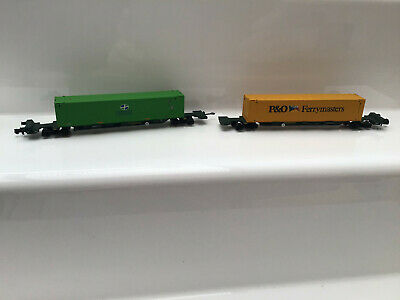 Dapol N Gauge Freightliner Spine Wagons With Container Loads 'p&o' & 'consent' • 34.99£
