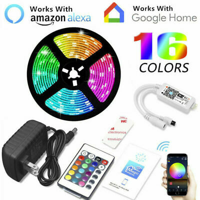 $11.99 • Buy 16.4' 5050 RGB Waterproof LED Strip Light SMD Kit Bluetooth WiFi Phone Controll