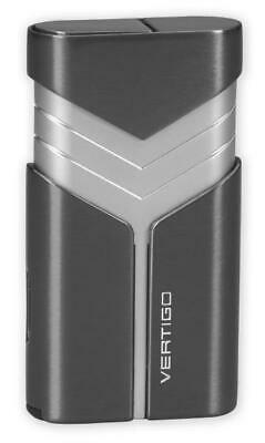 Vertigo  Tron  Butane Lighter, Gunmetal, Twin Torch Flame, Fold Out Cigar Punch • 12.78£